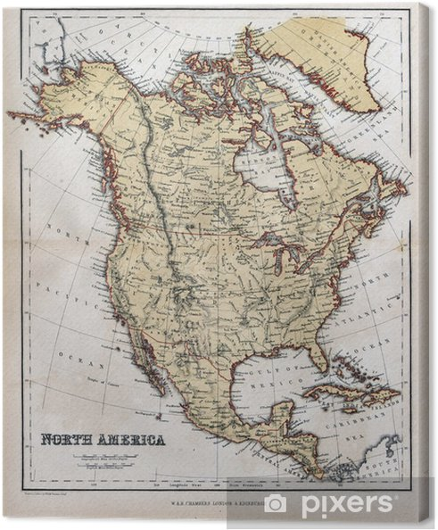 Old Map Of North America 1870 Canvas Print Pixers We Live To