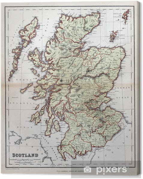 Old map of Scotland, 1870 Canvas Print -