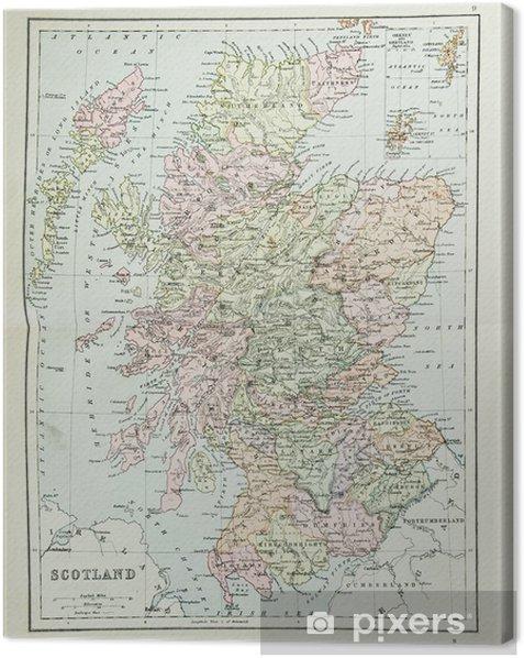 Old map of Scotland - reproduction from atlas c  1870 Canvas Print