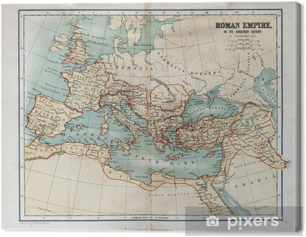 Old map of the Roman Empire, 1870 Canvas Print - Themes