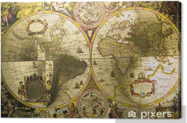 Old map of the world Canvas Print • Pixers® - We live to change
