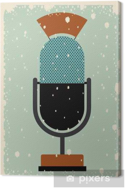 old microphone poster isolated icon design, vector illustration graphic Canvas Print - Technology