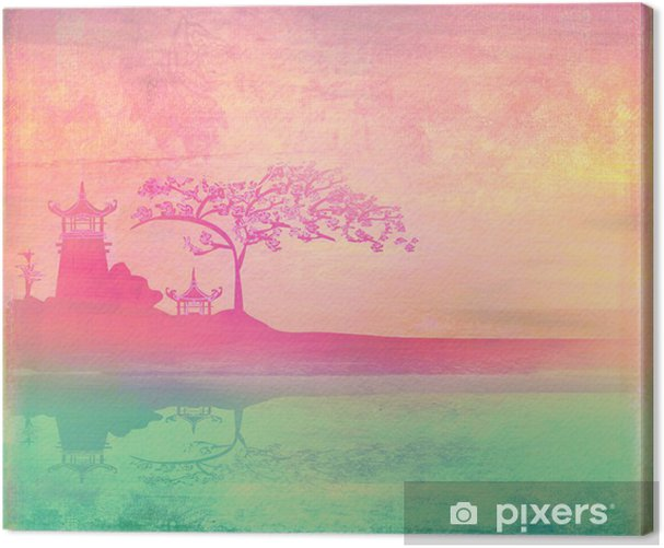old paper with Asian Landscape Canvas Print -