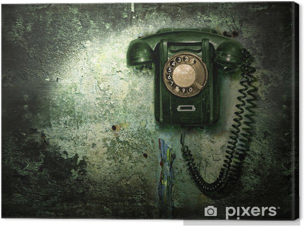 Old phone on the destroyed wall Canvas Print - Business Concepts