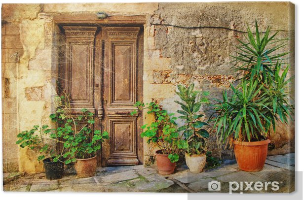 old pictorial greek doors Canvas Print - Themes