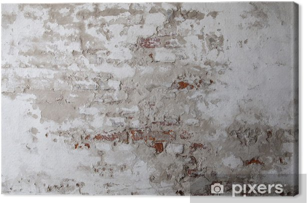 Old Red Brick Wall with Cracked Concrete Canvas Print - Themes