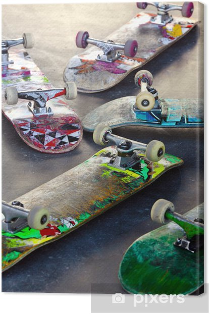 Old Skateboards Canvas Print - Skateboarding