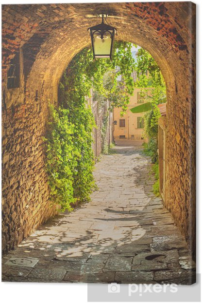 Old streets of a medieval Tuscan town. Canvas Print - Holidays