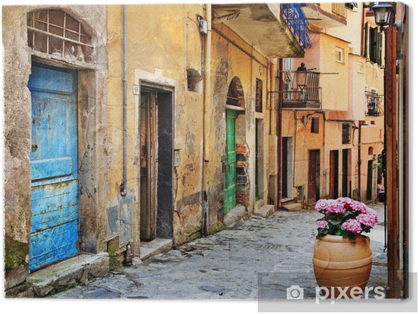 old streets of Italian villages Canvas Print - Themes