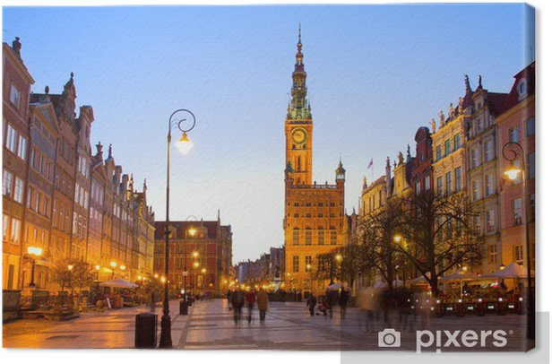 Old town of Gdansk with city hall at night Canvas Print - Themes