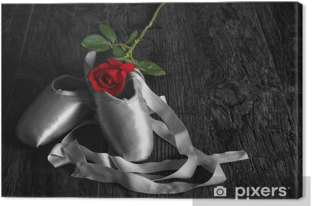 Old used ballet slippers lying on floor with rose on wood floor Canvas Print - Themes