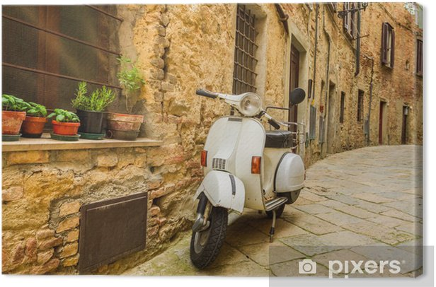Old Vespa scooter on the street in Italy Canvas Print - Vespa