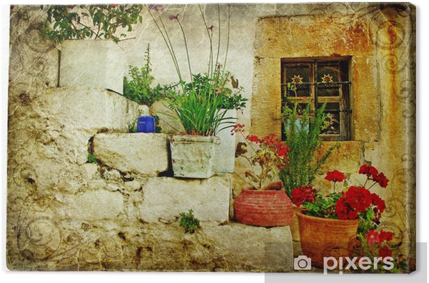 old villages of Greece - artistic retro style Canvas Print - Themes
