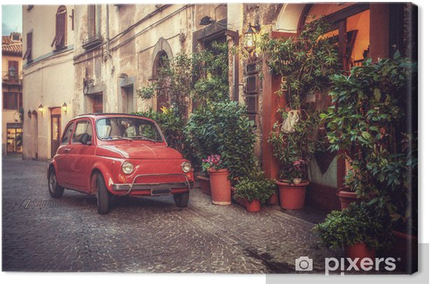Old vintage cult car parked on the street by the restaurant, in Canvas Print - Themes
