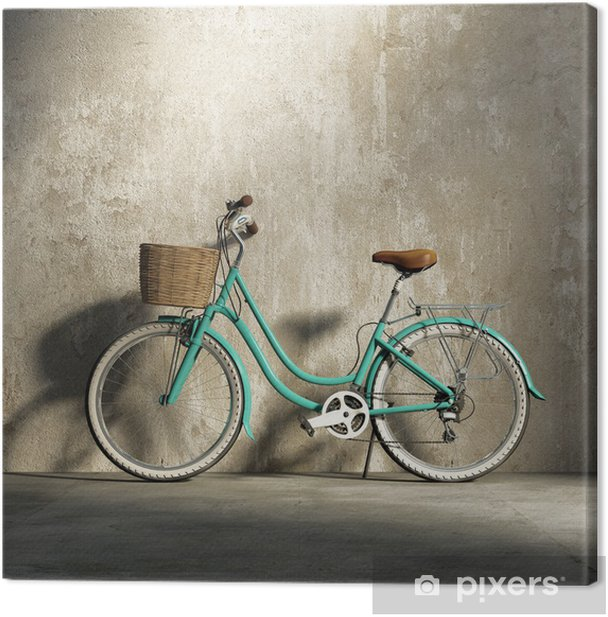 Old vintage romantic green bicycle, stylish basket grungy wall Canvas Print - Styles