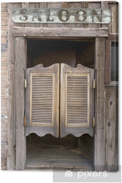 Old Western Swinging Saloon Doors with Sign Canvas Print -