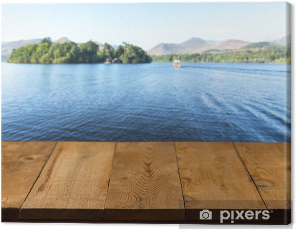 Old wooden table or walkway by lake Canvas Print - Themes