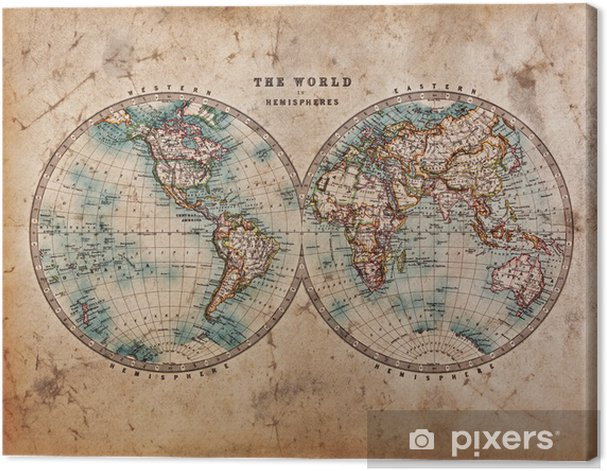 Old World Map in Hemispheres Canvas Print - Themes