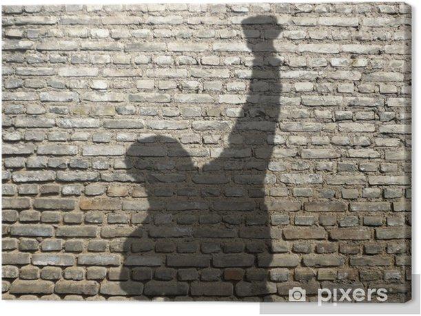 ombre d'homme poing levé Canvas Print - Business Concepts