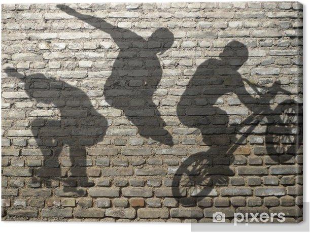ombres de Skate, Roller & BMX sur mur de briques Canvas Print - Skateboarding