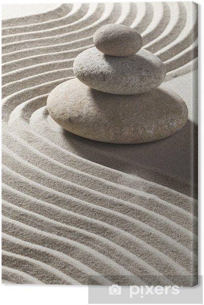 onde zen sur sable et trois galets Canvas Print - Destinations