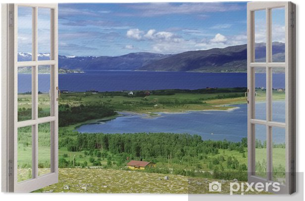 Open window view to landscape with river, hills and fields Canvas Print - Themes