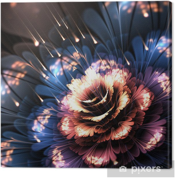 orange-blue fractal flower Canvas Print - Flowers