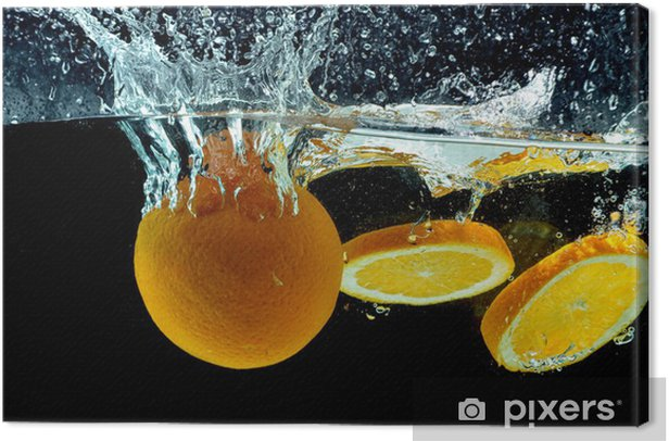Orange Fruit Splash on water Canvas Print - Destinations