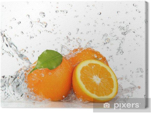 Orange fruits and Splashing water Canvas Print - Destinations