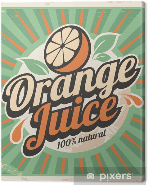 Orange juice retro poster Canvas Print - Styles