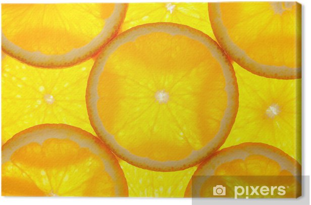 Orange slices background / macro / back lit Canvas Print - Meals