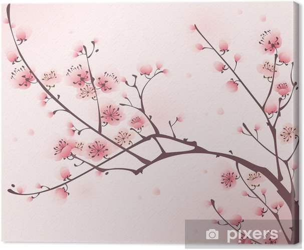 Oriental style painting, cherry blossom in spring Canvas Print - Styles