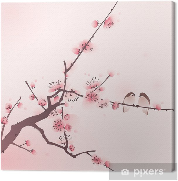 oriental style painting, cherry blossom in spring Canvas Print - Themes
