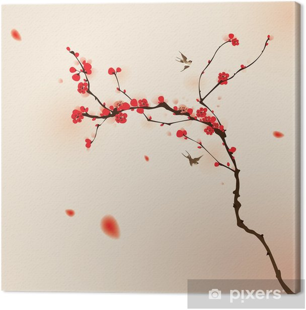oriental style painting, plum blossom in spring Canvas Print - Styles