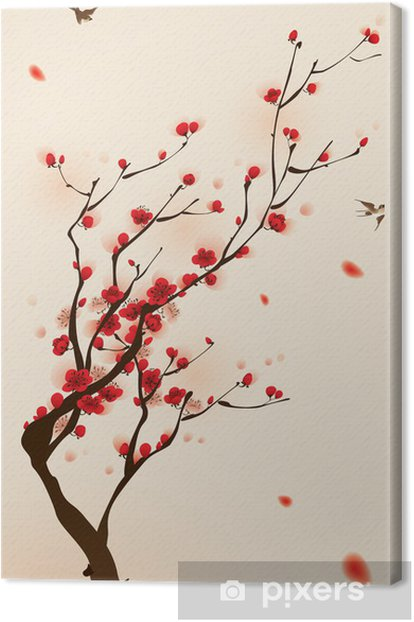 oriental style painting, plum blossom in spring Canvas Print -