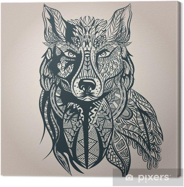 Ornamental decorative wolf, predator, pattern, Isolated Canvas Print - Mammals
