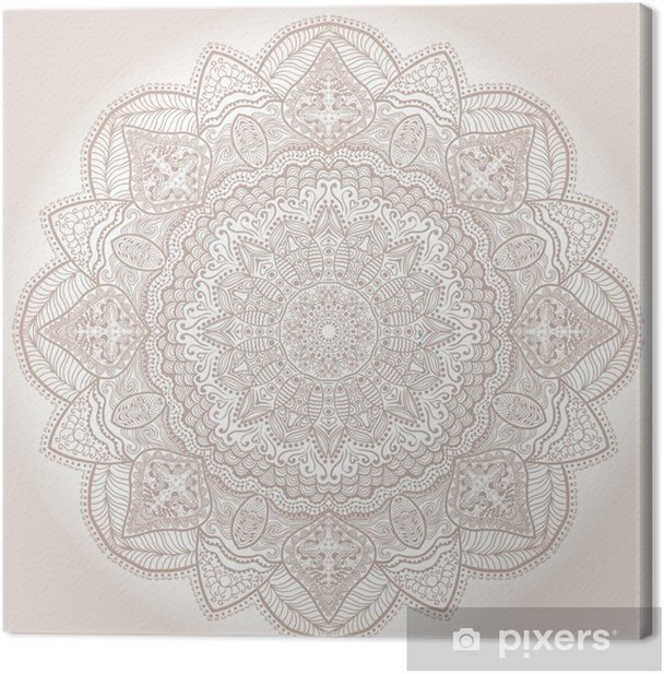 ornamental round lace pattern, circle background with many detai Canvas Print - Themes
