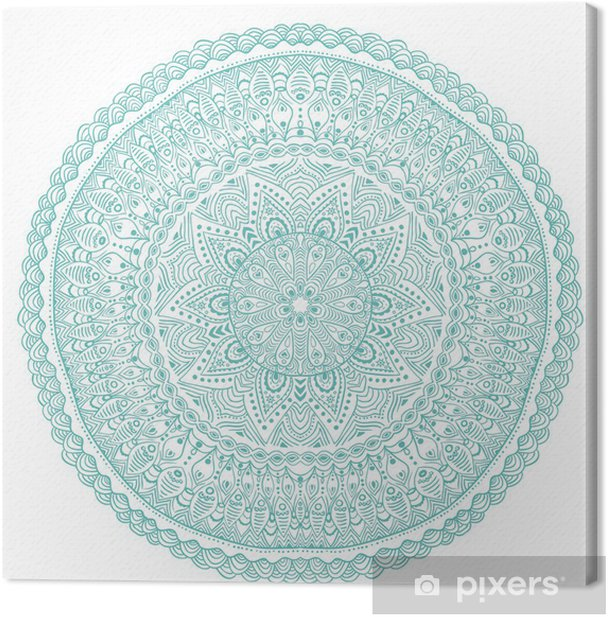 ornamental round lace pattern, circle background with many detai Canvas Print - Wall decals