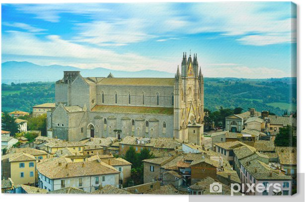 Orvieto medieval Duomo cathedral church aerial view. Italy Canvas Print - Europe