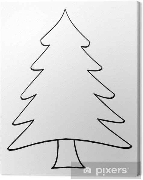 outline cartoon christmas tree canvas print pixers we live to