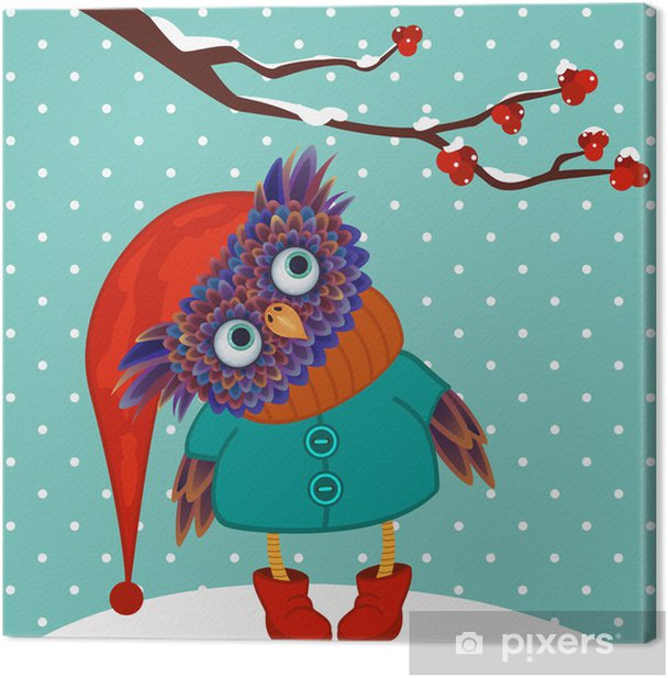 owl winter vector Canvas Print - Themes