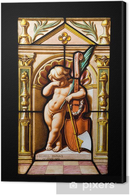 Pained Kid with violin in a stained glass from Blois Chateau Canvas Print - Monuments