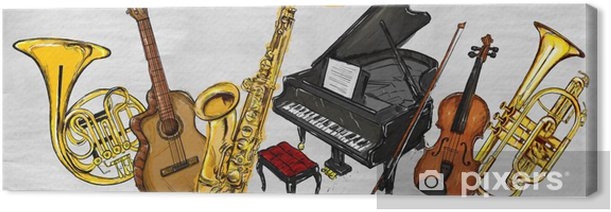 Painting Music Instruments Canvas Print - Jazz