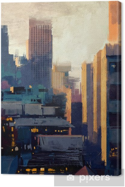 painting of skyscrapers at sunset Canvas Print - Hobbies and Leisure
