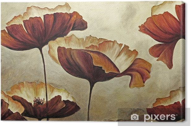 Painting poppies with texture Canvas Print - Hobbies and Leisure