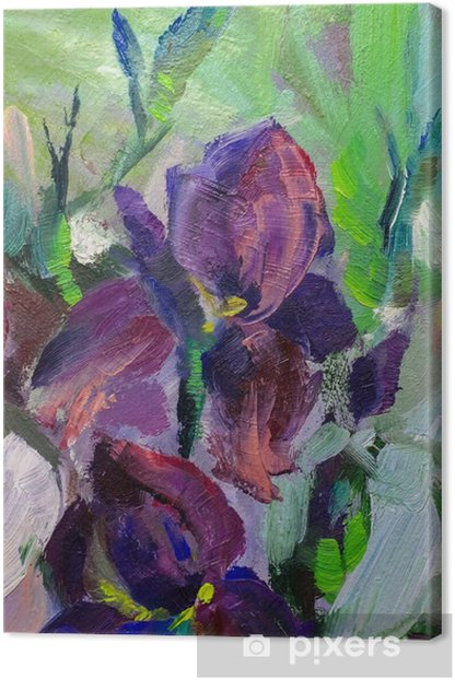 painting still life oil painting texture, irises impressionism a Canvas Print - Hobbies and Leisure