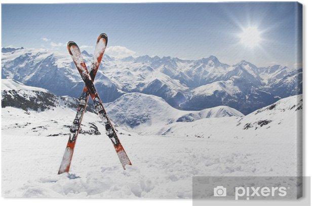 Pair of cross skis Canvas Print - Sport