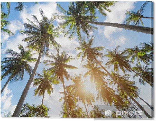 Palm trees against blue sky Canvas Print - Themes