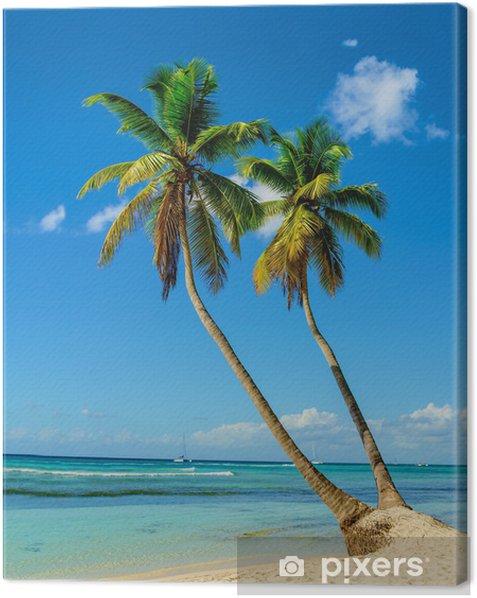Palm trees entering the ocean, paradise beach Canvas Print - Palm trees