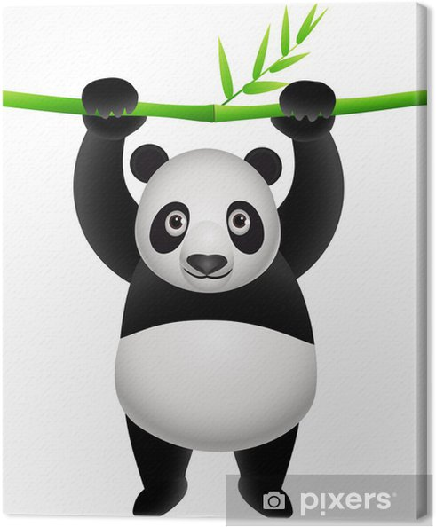 Panda Hanging On A Bamboo Canvas Print Pixers We Live To Change